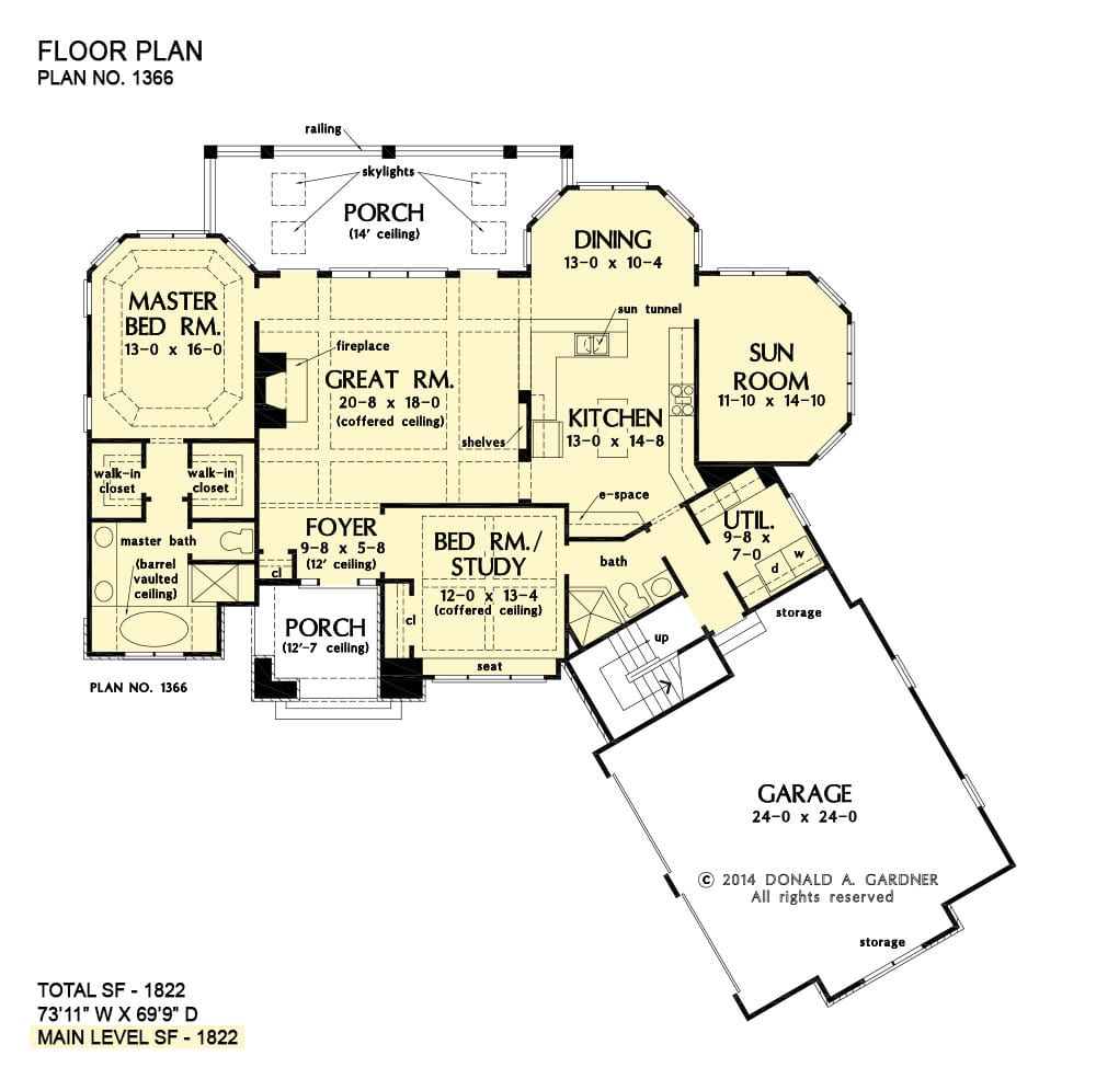 Entire floor plan of a 2-bedroom single-story The Rowan rustic home with front and back porches, coffered great room, kitchen, dining area, sunroom, utility, angled garage, and two bedrooms including the primary and the flexible study.