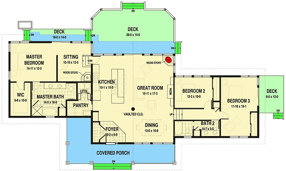 Entire floor plan of a 3-bedroom single-story ranch with covered porch, dining area, great room, kitchen, two bedrooms, and a primary suite with private deck access.