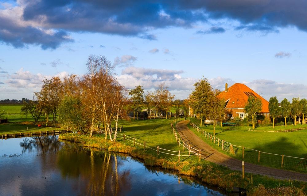 Sunset spring village river landscape.