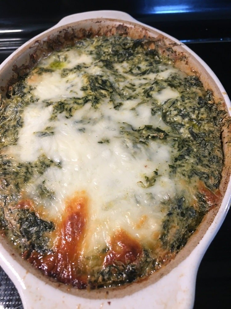 A freshly-made four cheese hot spinach dip.