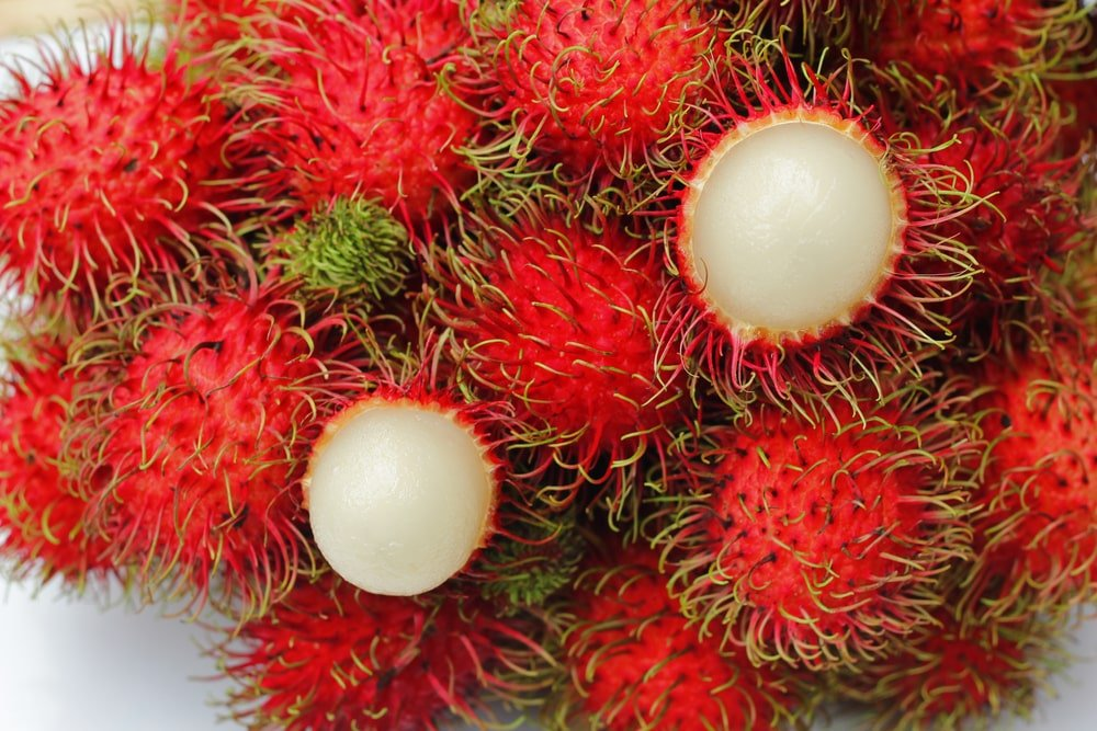 A bunch of ripe Rambutan.