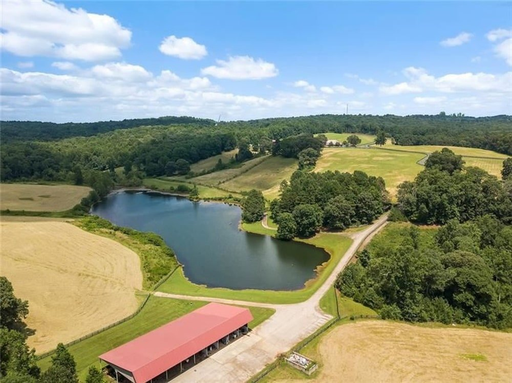 This is a look at the large pond just outside the massive car-collector's showroom adorned with tall trees and grass lawns. Image courtesy of Toptenrealestatedeals.com.
