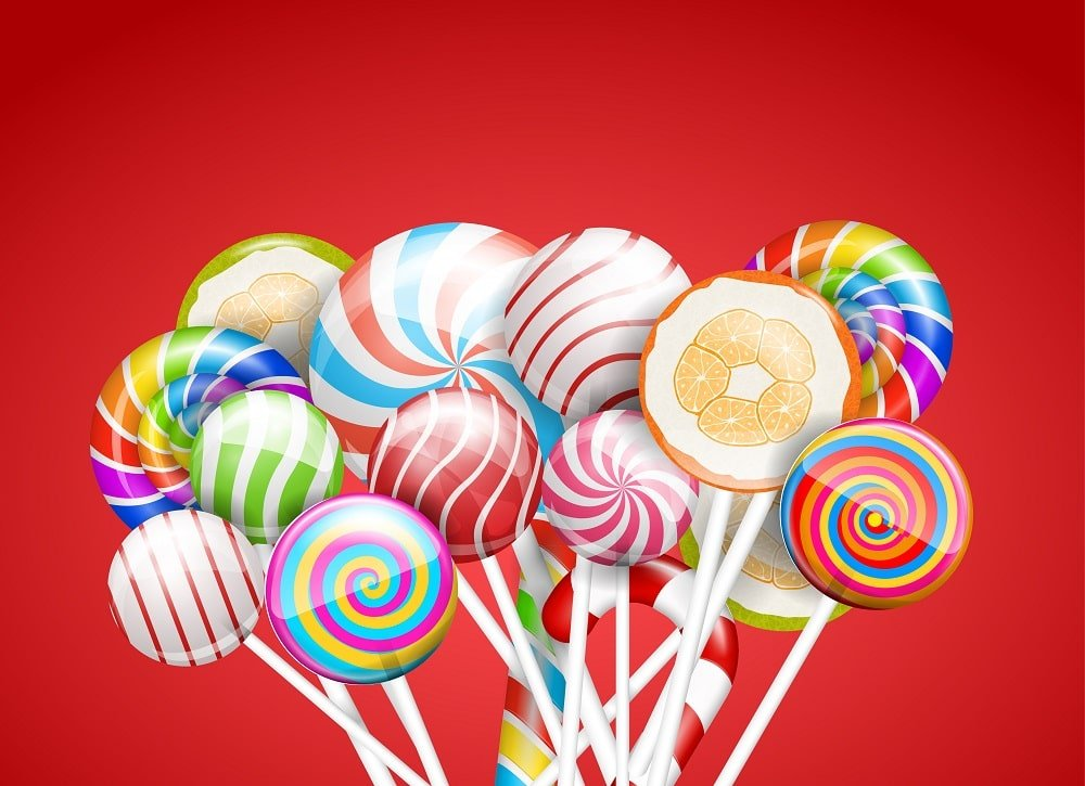 A bunch of colorful lollipops.