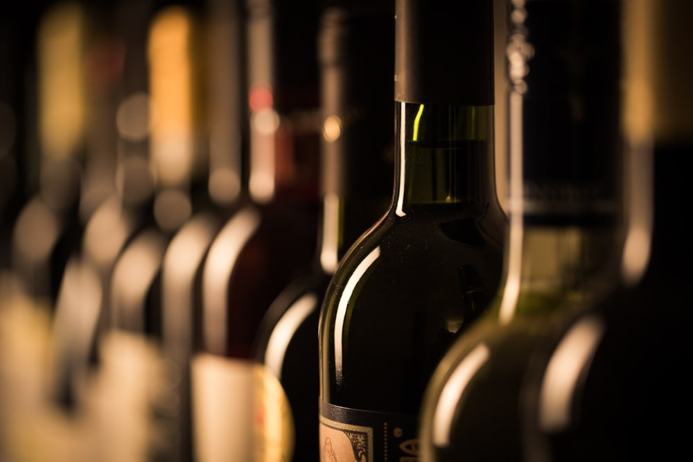 A close look at a row of vintage wine.