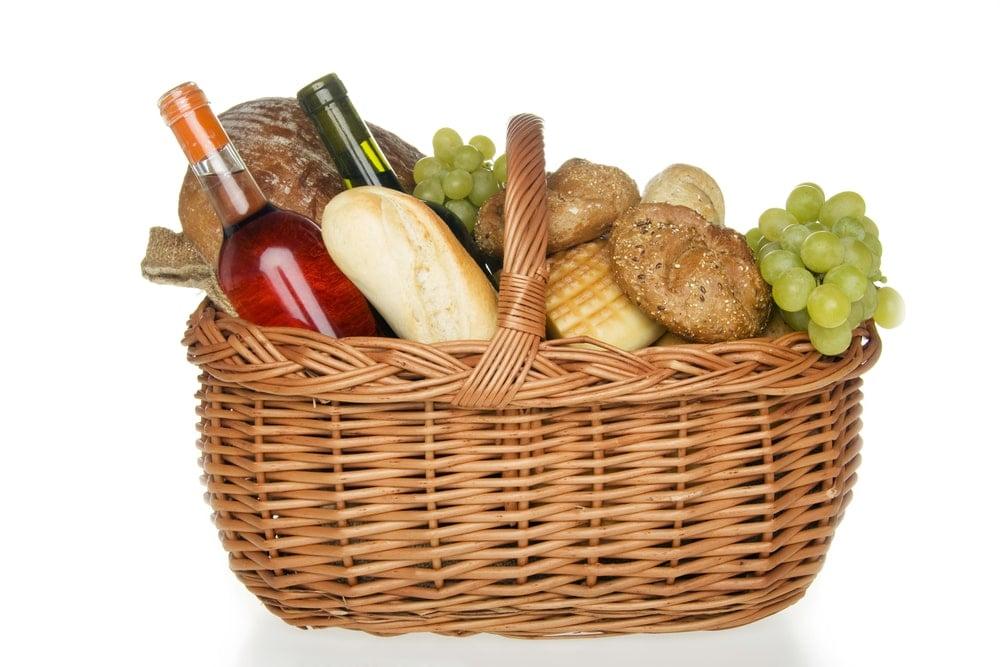 A basket of gourmet snacks.