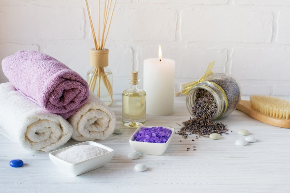 A variety of bath essentials.