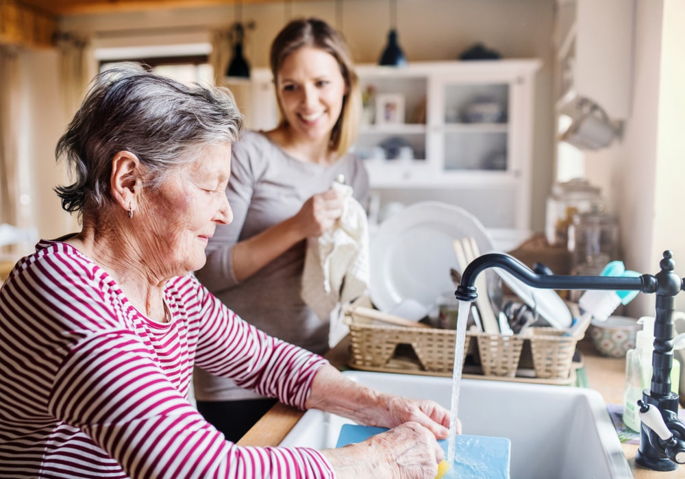 An old lady washes the dishes while a younger woman dries them.
