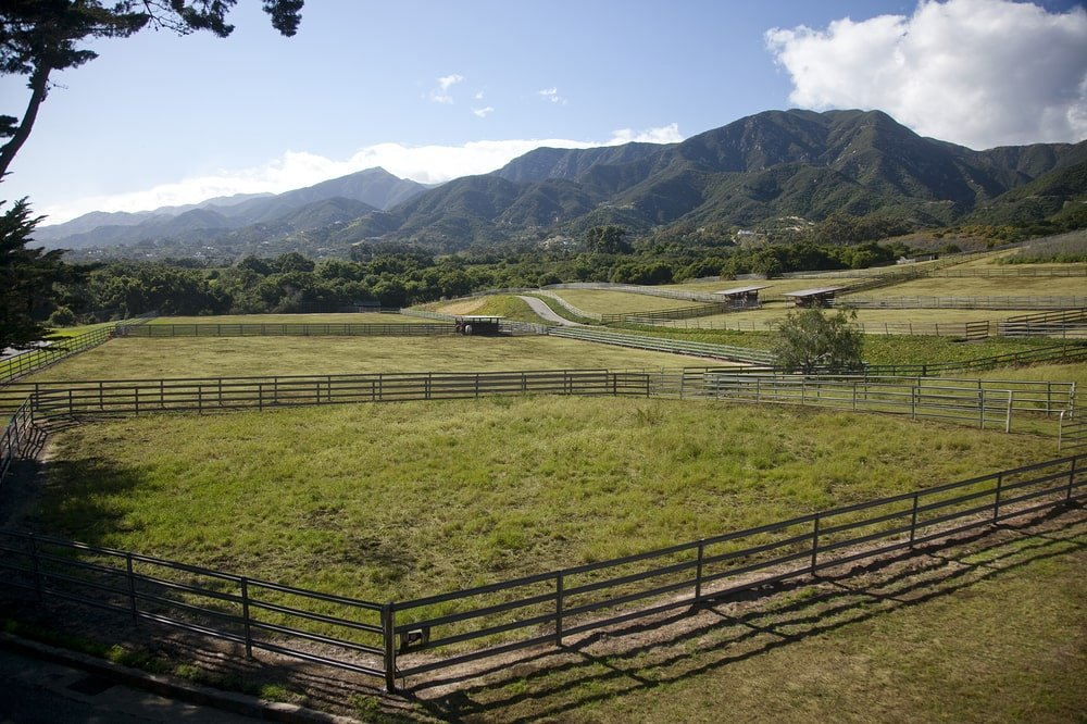 This is a look at the massive property that has grass fields, pastures and plenty of space for equine care. Image courtesy of Toptenrealestatedeals.com.