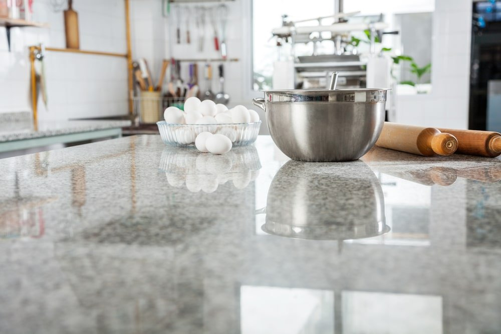 A close look at a white marble kitchen countertop.