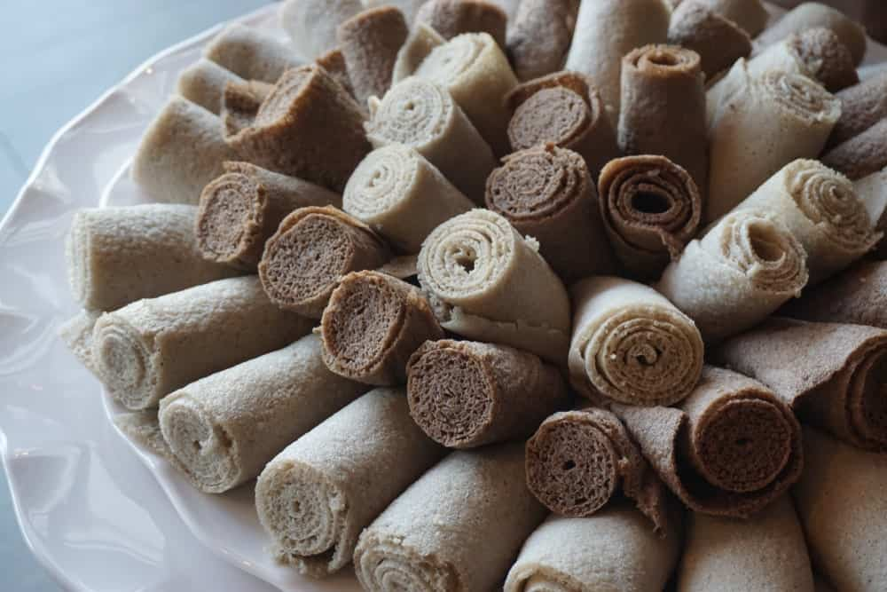 Rolls of Injera bread.