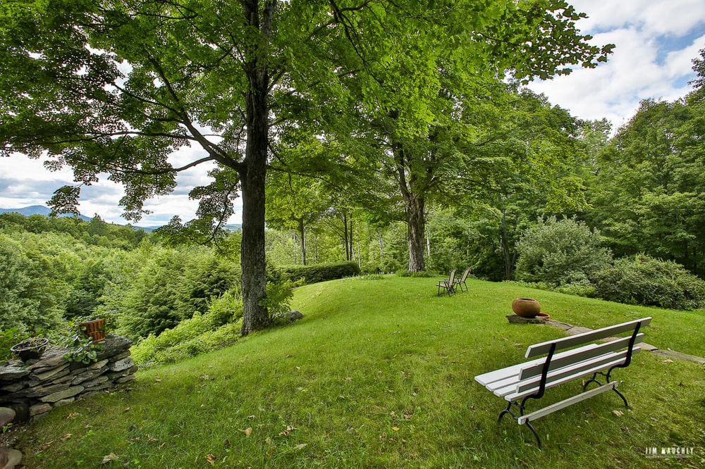 This is another look at the wooden park bench with a view of tall trees and the sweeping landscape. Image courtesy of Toptenrealestatedeals.com.