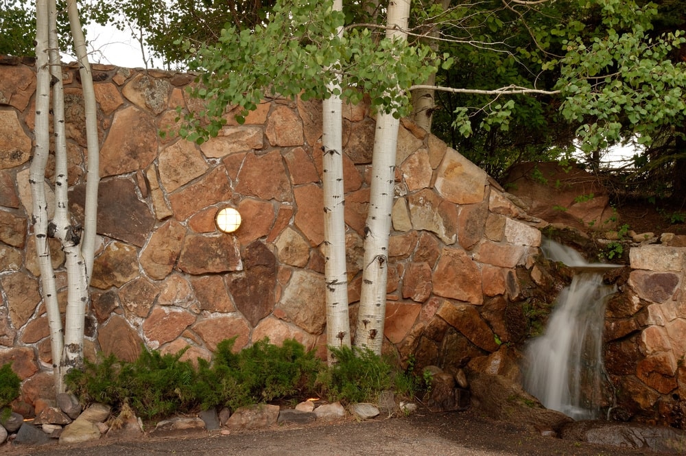 This is a close look at the landscaping between the guest house and the main house. This is the stone mosaic wall with a stream waterfall adorned with tall trees and shrubs. Image courtesy of Toptenrealestatedeals.com.