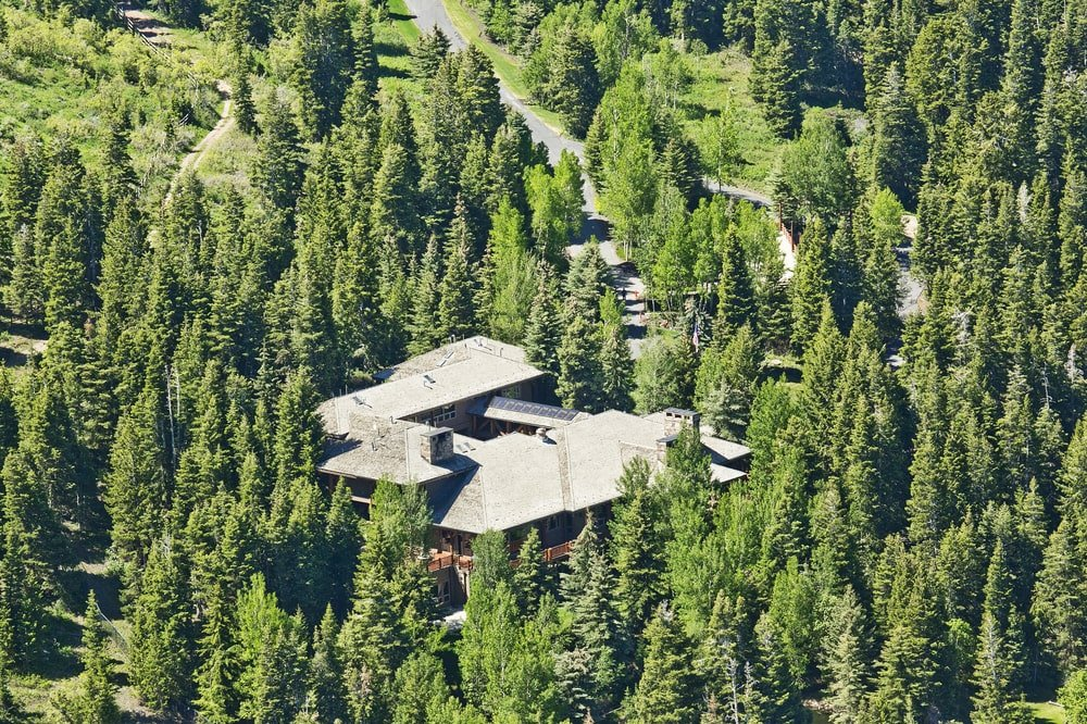 This is an aerial view of the massive lodge surrounded by tall trees. You can also see here the wide driveway leading to the house. Image courtesy of Toptenrealestatedeals.com.