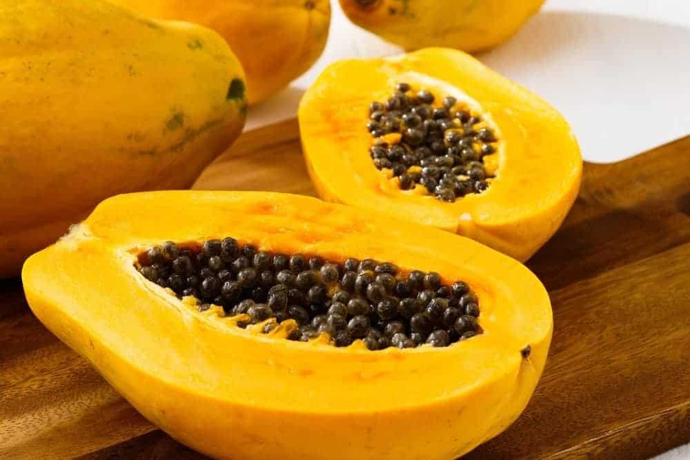 Kapoho papaya cut in half.