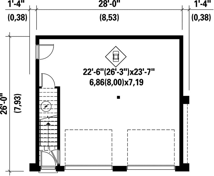 Lower level floor plan with a two-car garage.