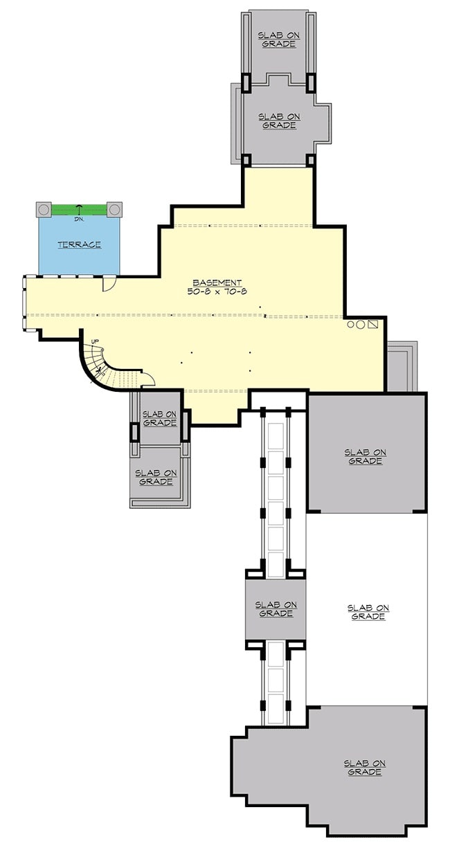 Lower level floor plan with a large bonus room and a spacious terrace.