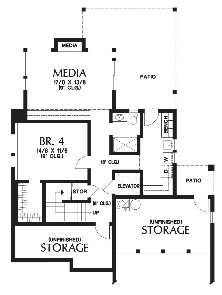 Lower level floor plan with another bedroom, media room, utility, and unfinished storage rooms.