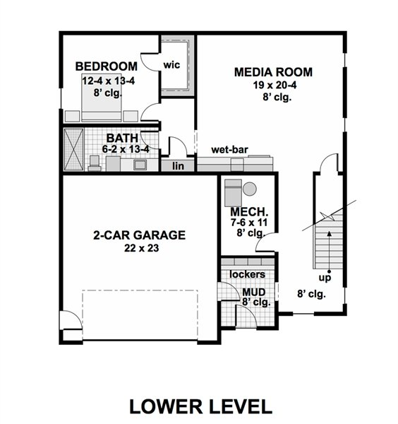 Lower level floor plan with another bedroom and bath, two-car garage, and a media room with a wet bar.