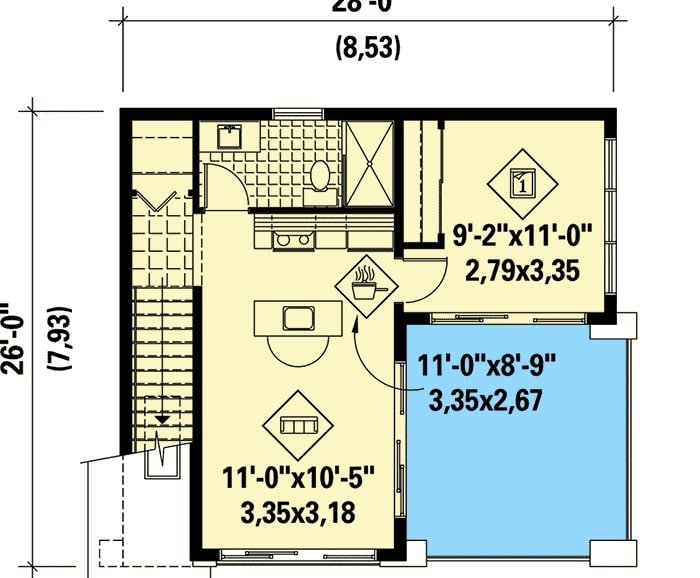 Main level floor plan of a 1-bedroom two-story contemporary tiny home with living room, dining area, kitchen, bathroom, and a bedroom.