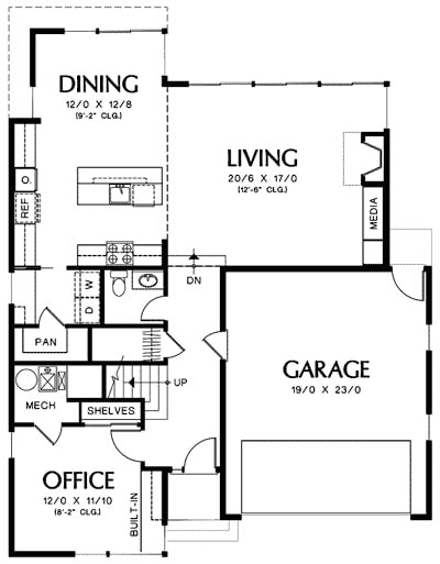 Main level floor plan of a 2-bedroom two-story mid-century home with double garage, office, combined living and dining, kitchen, utility, and a bathroom with sauna.