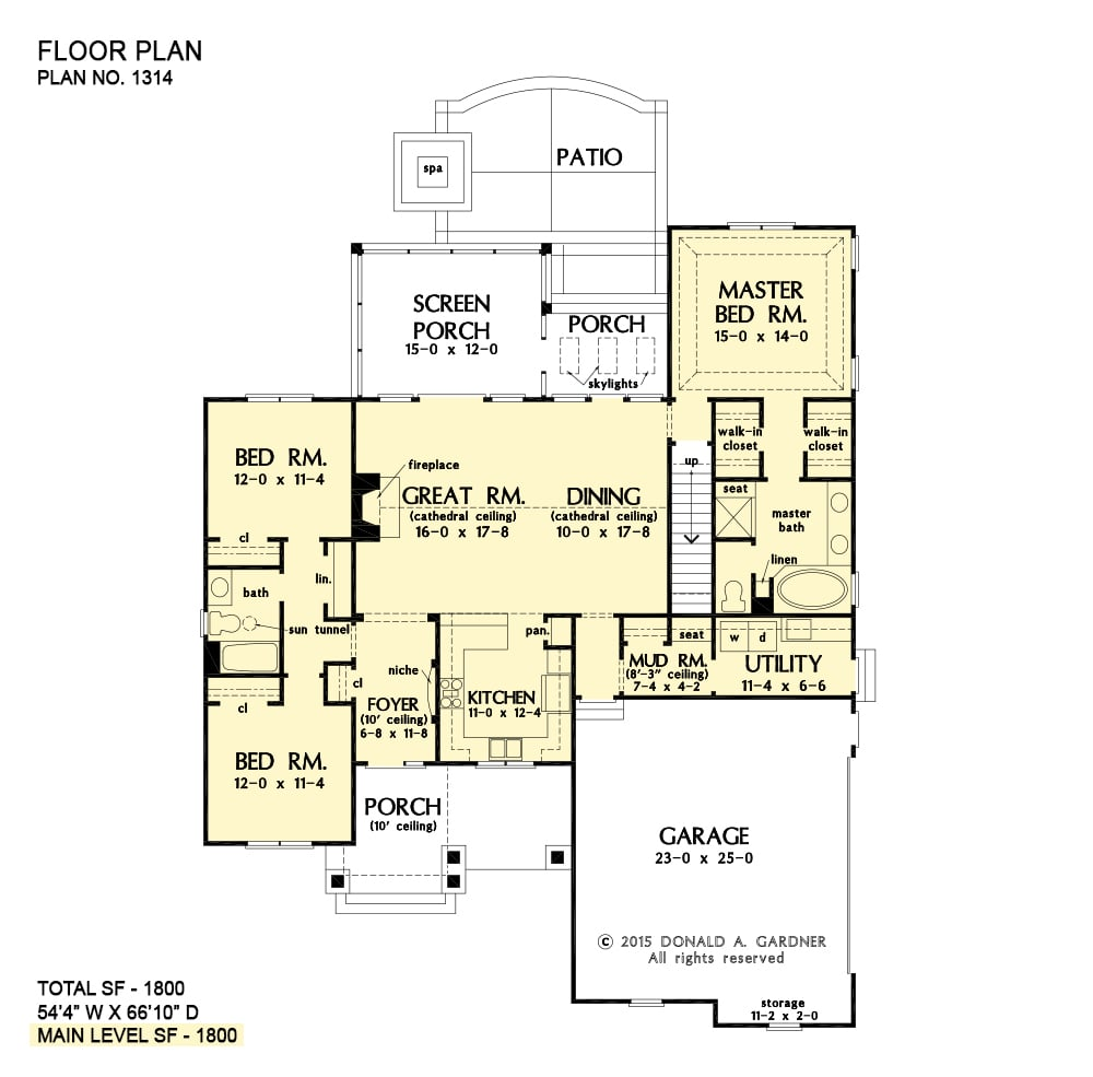 Main level floor plan of a 3-bedroom ranch single-story The Eleanor home with front and back porches, kitchen, dining area, utility, mudroom, three bedrooms, and a great room that opens to the screened porch.