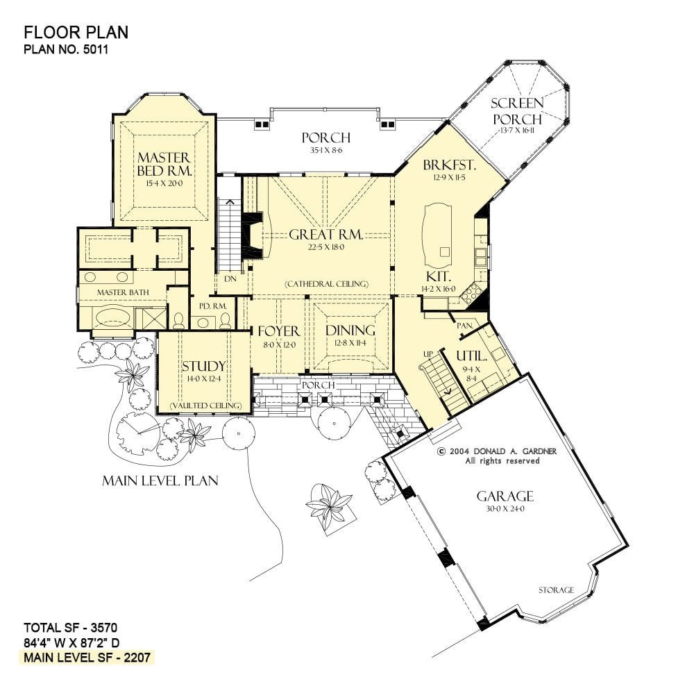 Main level floor plan of a 3-bedroom rustic two-story The Solstice Springs home with angled garage, front and back porches, formal dining room, great room, study, primary bedroom, utility, kitchen, and breakfast nook that extends to the screened porch.