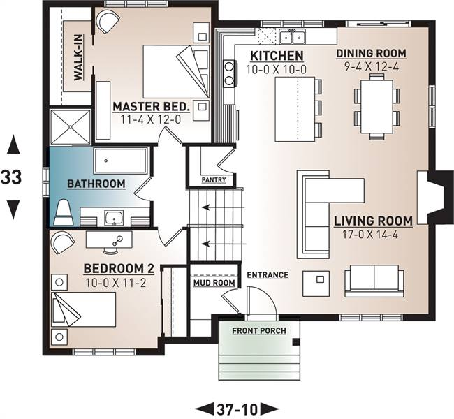 Main level floor plan of a 3-bedroom Scandinavian single-story Ramsay home with living room, dining area, kitchen, mudroom, and two bedrooms sharing a bath.