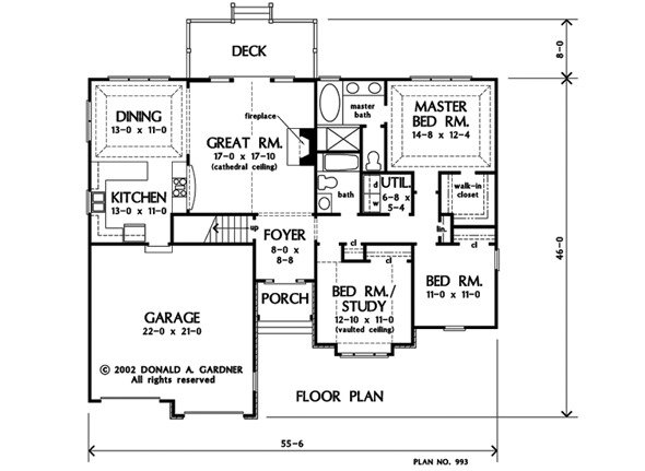 Entire floor plan of a 3-bedroom single-story The Irby home with foyer, great room that opens out to the rear deck, formal dining room, kitchen, and three bedrooms including the primary bedroom.