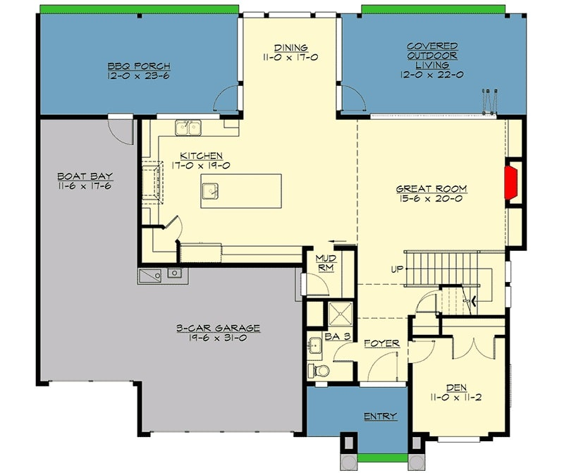 Main level floor plan of a 3-bedroom two-story prairie style home with a foyer, den, great room that opens to the covered outdoor living, dining area, kitchen, and a mudroom that leads to the three-car garage with a boat bay and access to the bbq porch.