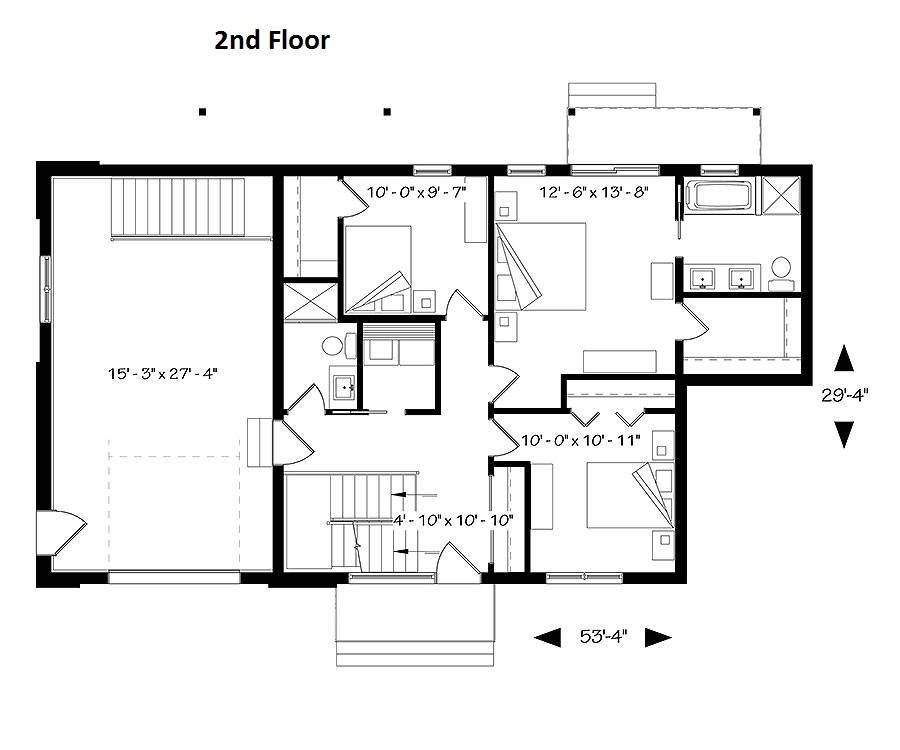 Main level floor plan of a 3-bedroom two-story Scandinavian Oslo home with three bedrooms, two baths, and a laundry room.