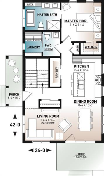 Main level floor plan of a 3-bedroom two-story Scandinavian style Willowgate home with living room, kitchen, dining area, primary bedroom, and a powder room that opens to the laundry room.