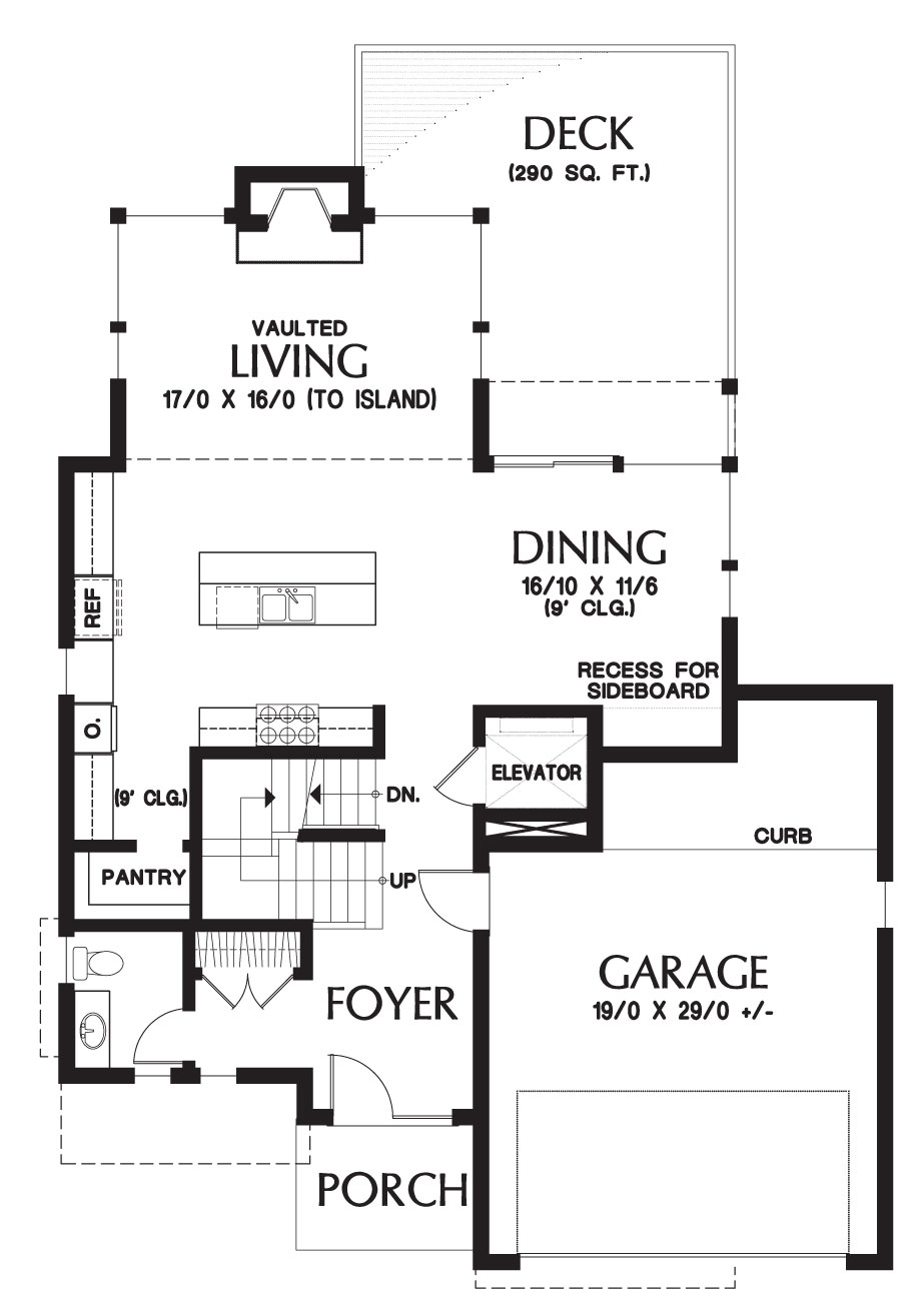 Main level floor plan of a 4-bedroom modern two-story Gleneden home with front porch, double garage, living room, kitchen, and dining area that opens to the rear deck.