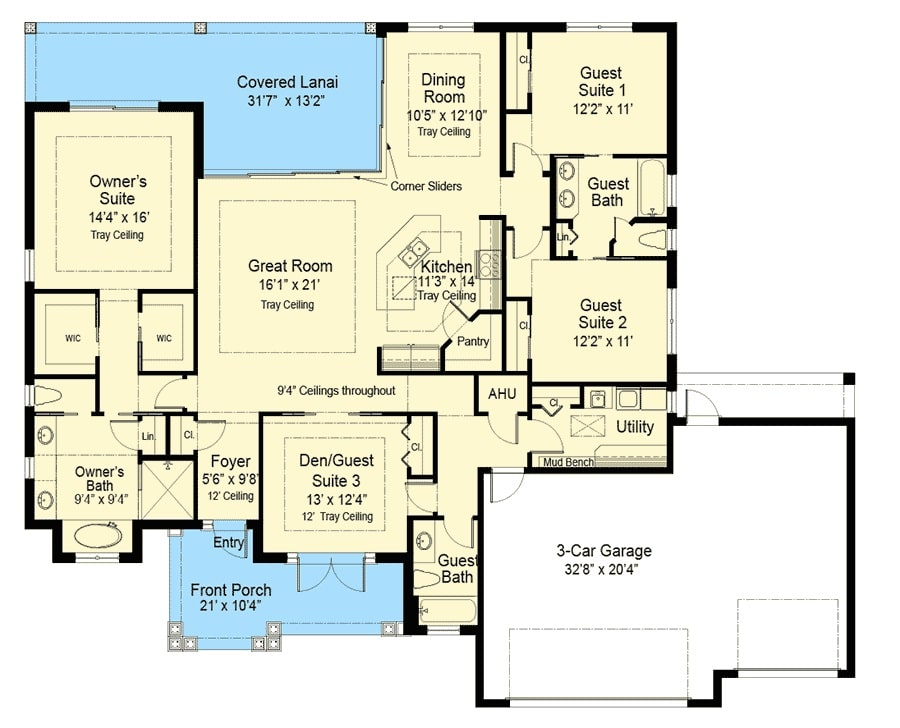 Entire floor plan of a 4-bedroom single-story southern home with front porch, den/guest suite, great room, kitchen, dining room, two guest suites, and a primary bedroom with private access to the covered lanai.