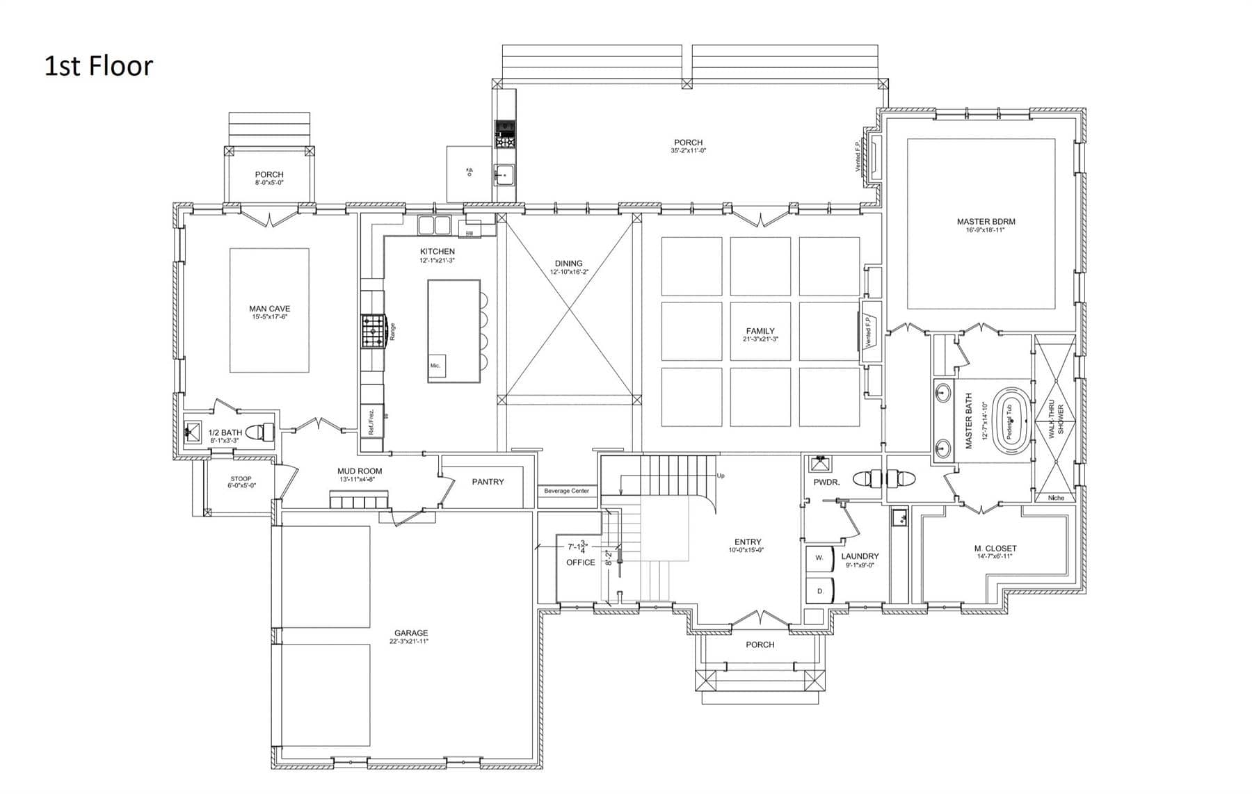 Main level floor plan of a 4-bedroom two-story Baton Rouge traditional luxury style home with front and back porches, office, laundry room, family room, dining room, kitchen, primary bedroom, and a mancave with a private porch.