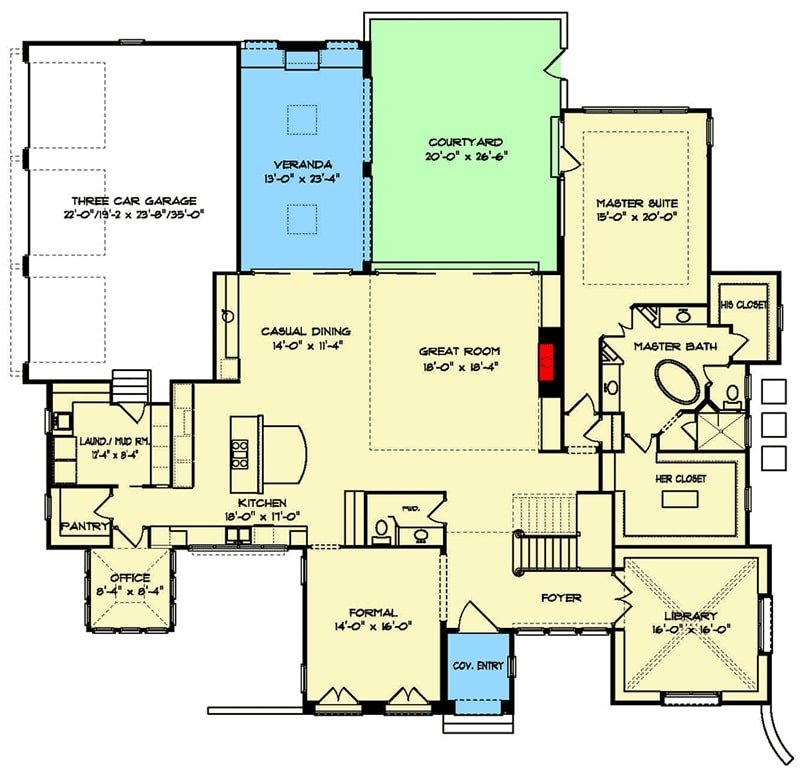 Main level floor plan of a 4-bedroom two-story exclusive modern home with foyer, library, formal dining room, great room, kitchen, casual dining, that opens to a veranda, office, pass-through laundry leading to the garage, and a primary suite with private access to the courtyard.