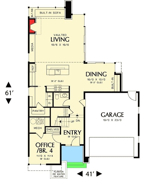 Main level floor plan of a 4-bedroom two-story mid-century home with double garage, living room, dining area, kitchen, and a flexible office/bedroom.