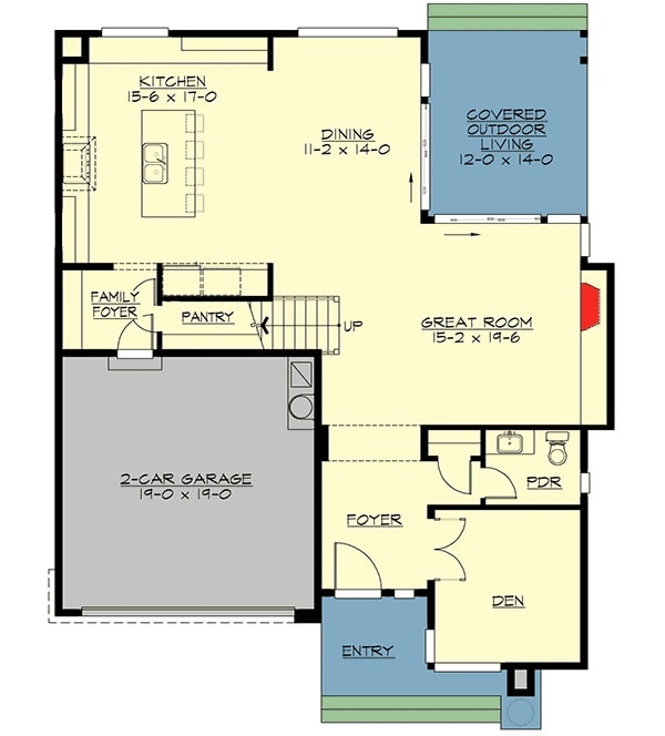 Main level floor plan of a 4-bedroom two-story modern home with foyer, den, powder room, great room, that opens to the outdoor living, dining area, kitchen, and a family foyer that leads to the 2-car garage.