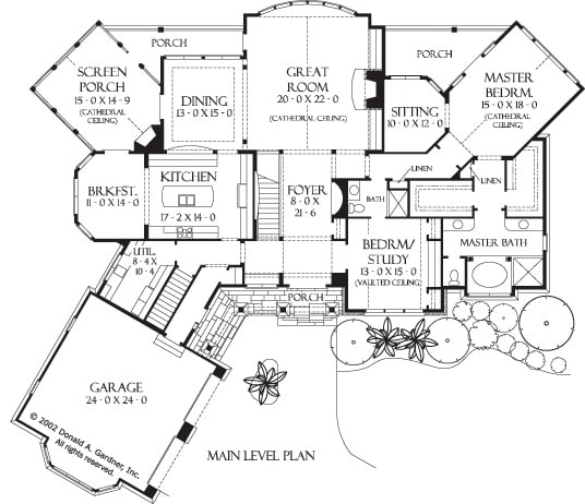 Main level floor plan of a 4-bedroom two-story rustic style The Oak Abbey home with an angled garage, front porch, great room, formal dining room, kitchen with breakfast nook, screened porch, and two bedrooms including the flexible study and the primary bedroom with a sitting room and private porch.