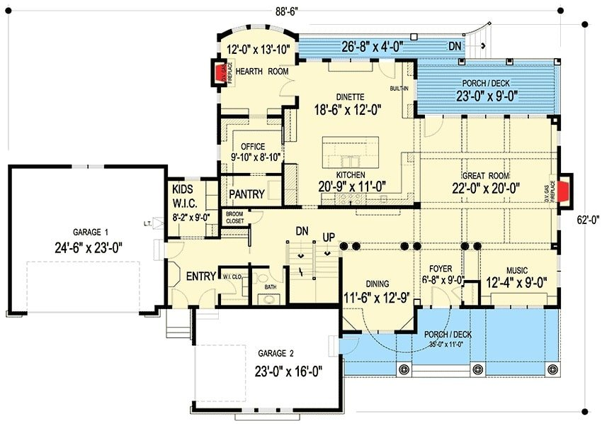 Main level floor plan of a 4-bedroom two-story shingle-style home with front and rear decks, music room, formal dining room, great room, office, hearth room, kids' walk-in closet, and kitchen with dinette and a pantry.