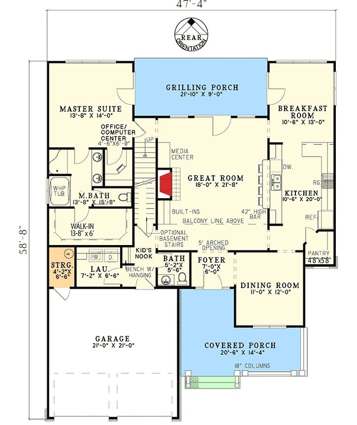 Main level floor plan of a 4-bedroom two-story traditional home with covered front porch, great room, formal dining room, kitchen, breakfast room, laundry, and a primary bath with grilling porch access.