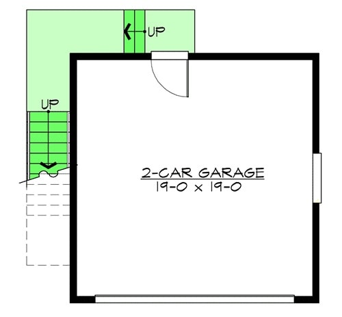 Lower level floor plan with a 2-car garage.