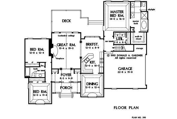 Main level floor plan of a single-story 3-bedroom traditional style The Hampton home with front porch, great room, kitchen b=with breakfast nook, formal dining room, three bedrooms, and a large rear deck.
