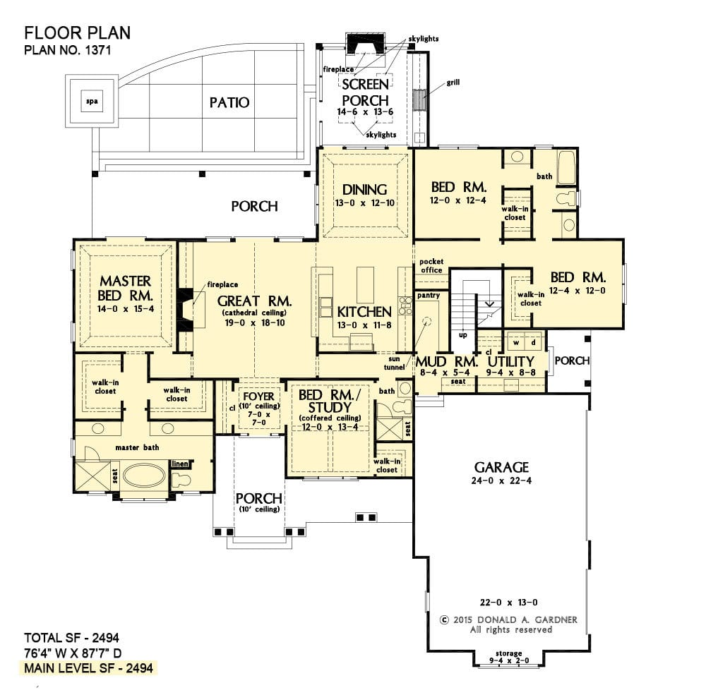 Main level floor plan of a single-story 4-bedroom The Drake ranch with front and back porches, great room, kitchen, dining area that extends to the screened porch, mudroom, utility, and four bedrooms including the primary and the flexible study.