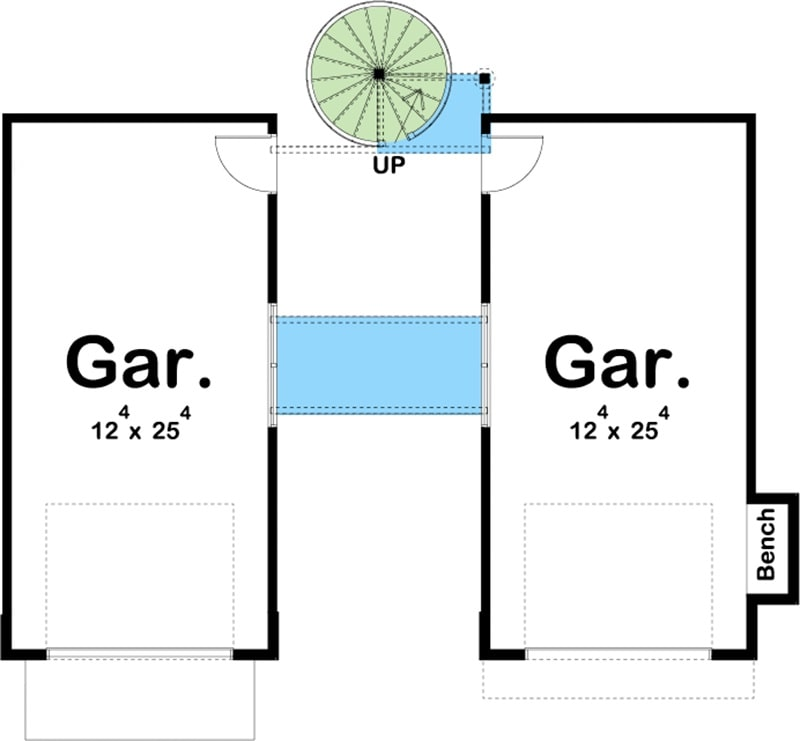 Main level floor plan of a two-story 1-bedroom contemporary carriage home with two garages, and a spiral staircase leading to the living space.