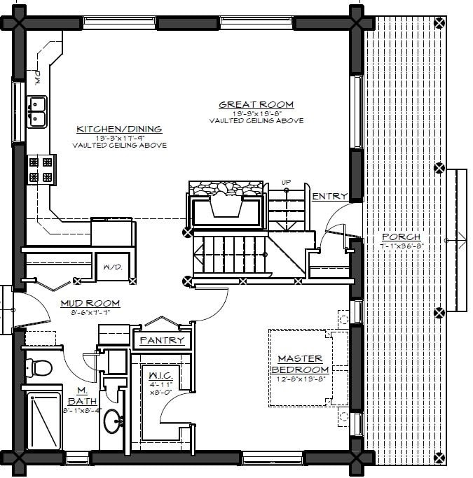 Main level floor plan of a two-story 1-bedroom log cabin retreat with a wide porch, great room, shared dining and kitchen, mudroom, and a primary bedroom.