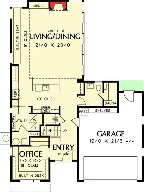 Main level floor plan of a two-story 2-bedroom mid-century modern home with double garage, office, utility, kitchen, and flexible living/dining room.