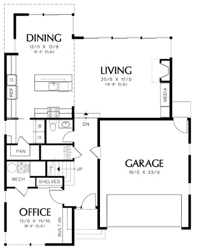 Main level floor plan of a two-story 2-bedroom up-to-date mid-century home with office, kitchen, utility, dining area, living room, and a double garage.