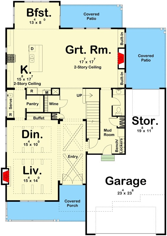 Main level floor plan of a two-story 3-bedroom modern home with covered front and back porches, living room, dining area, beamed entryway, kitchen, great room, breakfast nook, wine, cellar, and a garage with storage space.