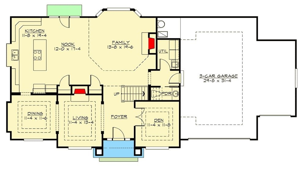 Main level floor plan of a two-story 3-bedroom northwest craftsman home with foyer, a quiet den, living room, formal dining room, kitchen, family room, and utility room.