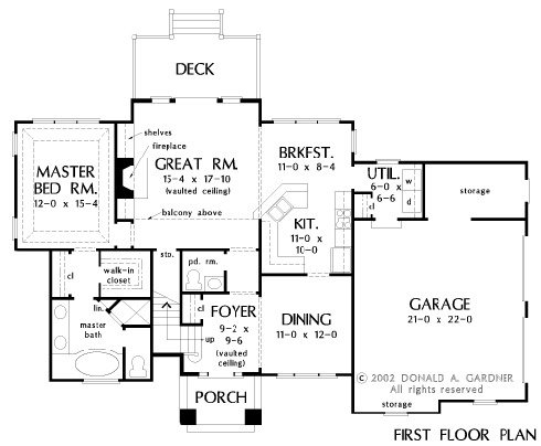 Main level floor plan of a two-story 3-bedroom traditional style The Luxembourg home with formal dining room, kitchen with breakfast nook, utility, primary bedroom, and a great room that opens out to the rear deck.